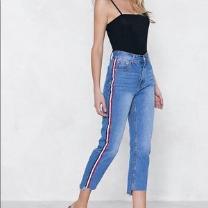 Nasty Gal Momokrom You're Absolutely Stripe Jeans